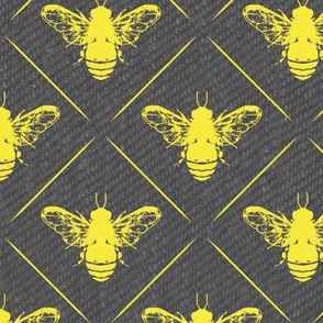 Gold Bees Lines on Grey