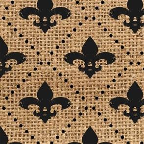 Fleur de Lis Black with dots on Burlap