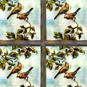 Little birds behind the window