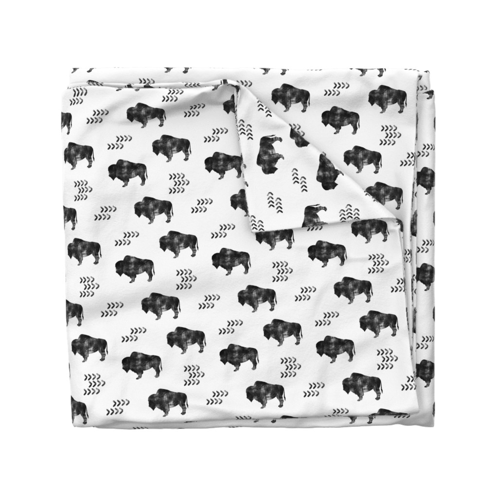 Wyandotte Duvet Cover featuring distressed buffalo || b&w by littlearrowdesign