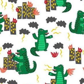 godzilla //scary monster fabric green scary dino fabric kids movie film design