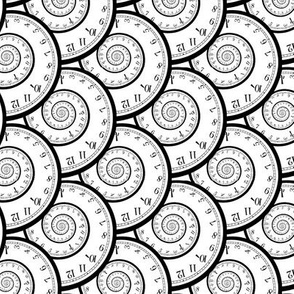 """caught in a time spiral (B&W, 3"""")"""