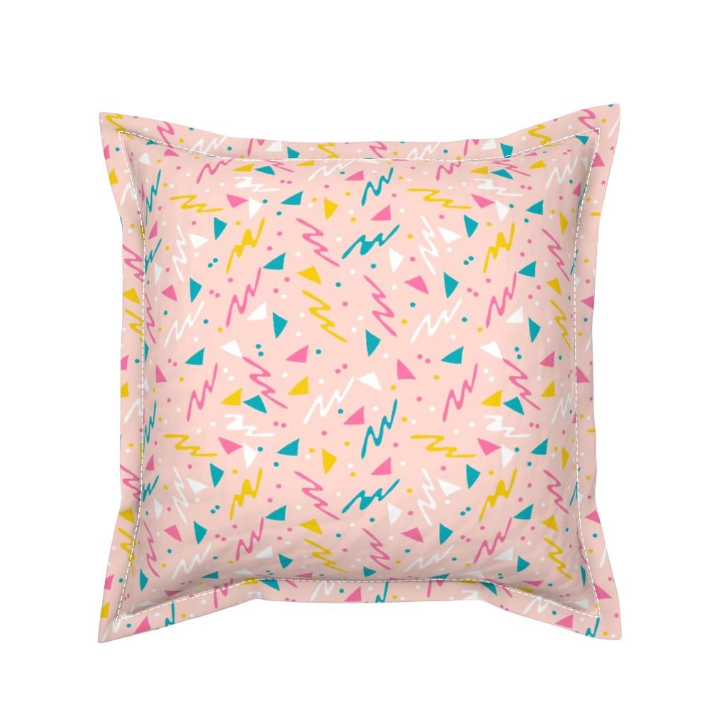 Serama Throw Pillow featuring 90s // retro rad 80s 90s fabric abstract kids 90s fabrics by andrea_lauren