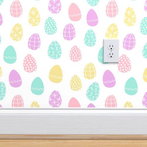 Wallpaper Easter Eggs Pastel Easter Egg Spring Fabric Pastels Cute Easter Egg Design Fairy Kei
