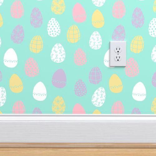 Wallpaper Easter Eggs Spring Pastels Fabric Spring Fairy Kei Girls Easter Eggs Design Cute Easter Fabric