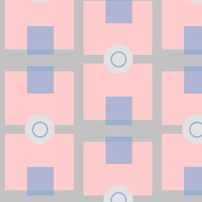 Pink  Blue and Grey Geometric