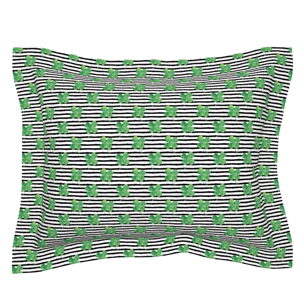 Sebright Pillow Sham featuring watercolor clover on stripes by littlearrowdesign