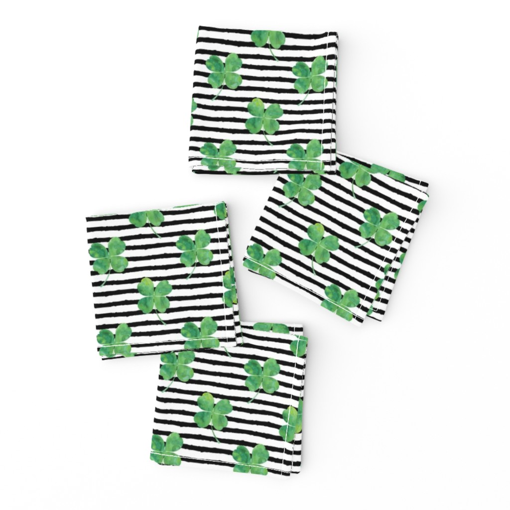 Frizzle Cocktail Napkins featuring watercolor clover on stripes by littlearrowdesign