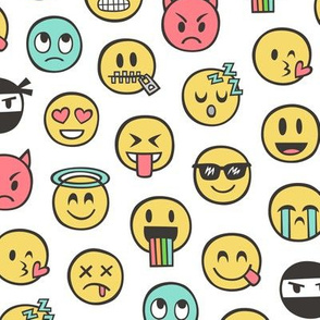 Smiley Emoticon Emoji Doodle on White