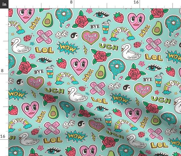 Fabric by the Yard Stitched Patches 90's Doodle with Hearts, Roses, Speech,  Swans & Love on Mint Green