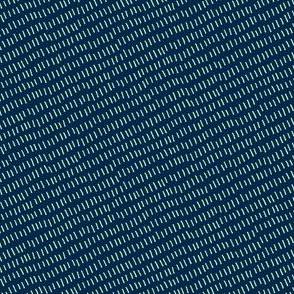 diagonal aurora stitches on blue
