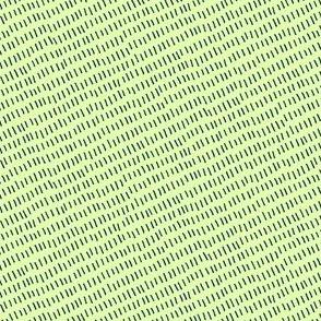 diagonal blue stitches on green / aurora