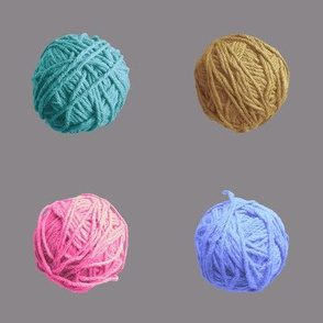 little yarn balls - summer colors on grey