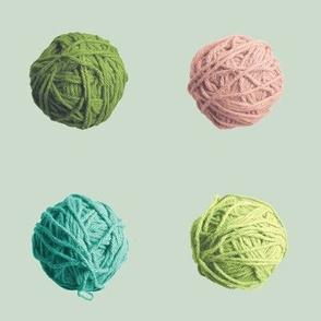 little yarn balls - green, pink, teal