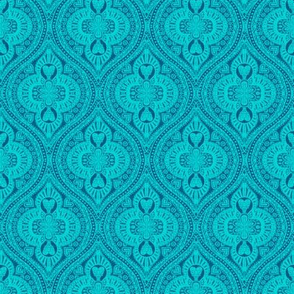 Marrakesh Bohemian Ogee Aqua hearts turquoise summer
