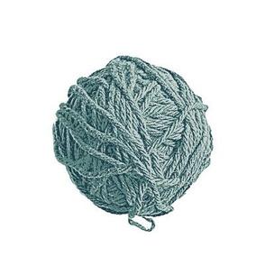 knitting a skiing sweater - blue yarn balls on white