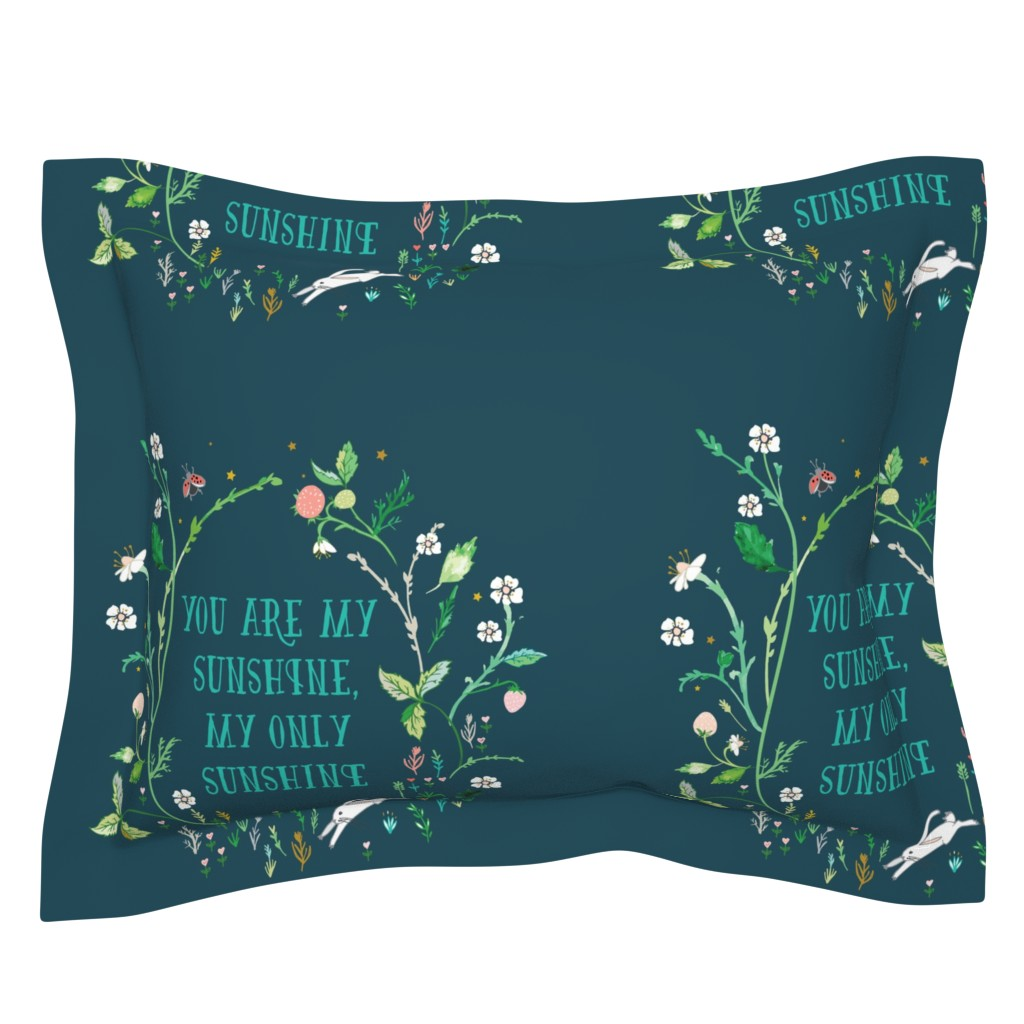 "Sebright Pillow Sham featuring You are my sunshine (midnight) 18"" sq. panel by nouveau_bohemian"