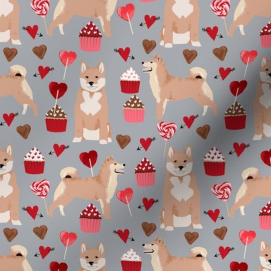 ad343a5d7 shiba inu valentines love dog fabric cute shiba inu design - grey ...