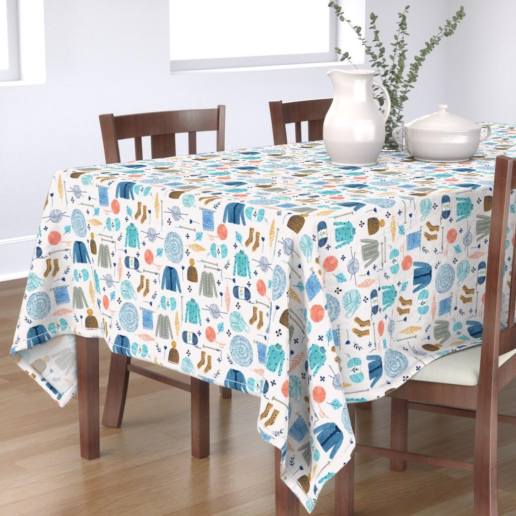 Bantam Rectangular Tablecloth featuring We Love Yarn/ Yar clothes/ Handmade DIY Fabric/ Winter Holidays Fabric by bianca_pozzi