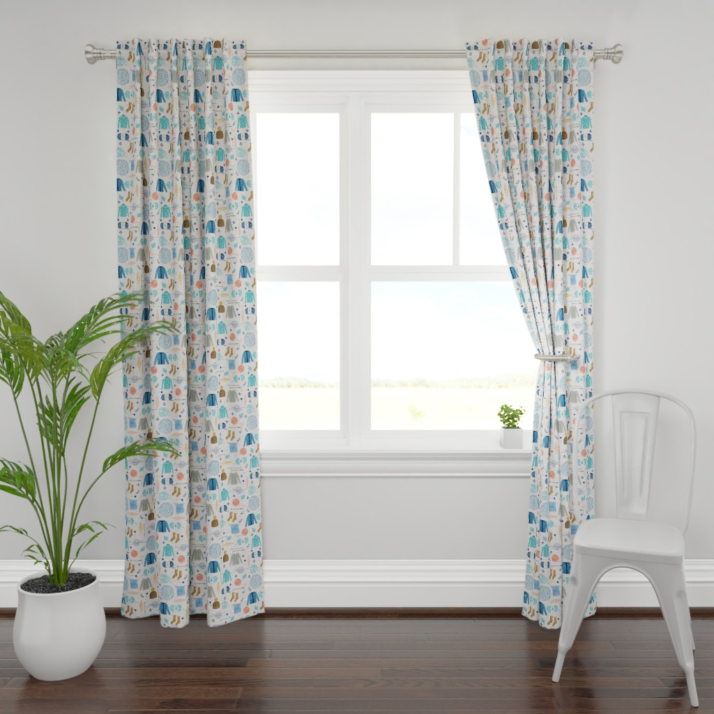 Plymouth Curtain Panel featuring We Love Yarn/ Yar clothes/ Handmade DIY Fabric/ Winter Holidays Fabric by bianca_pozzi