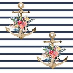 "7"" Blue Stripes Boho Floral Anchor"