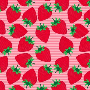 Striped Strawberries on Pink