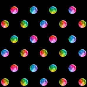 """1.5"""" rainbow moon polka dots"""