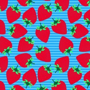 Striped Strawberries on Blue