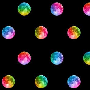 """3"""" rainbow moon polka dots"""