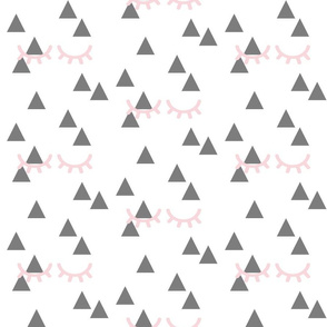 Sleepy Eyes on Triangles - Pink on Gray