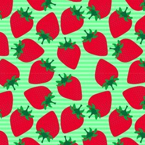 Striped Strawberries on Green