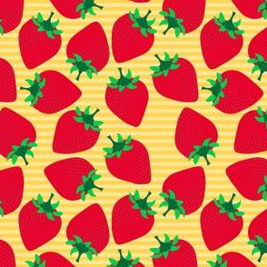 Striped Strawberries on Yellow