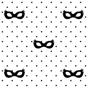 Girly Superhero Masks black on black dots