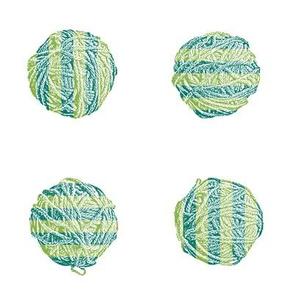 freshly knit:  self-striping yarn balls in spruce and fresh green