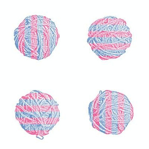 candy striper:  self-striping yarn balls in pink and blue
