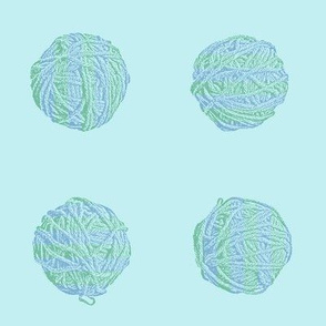 self-striping yarn balls - soft aqua