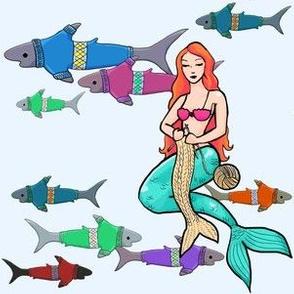 Shark-knit-o knitting mermaid