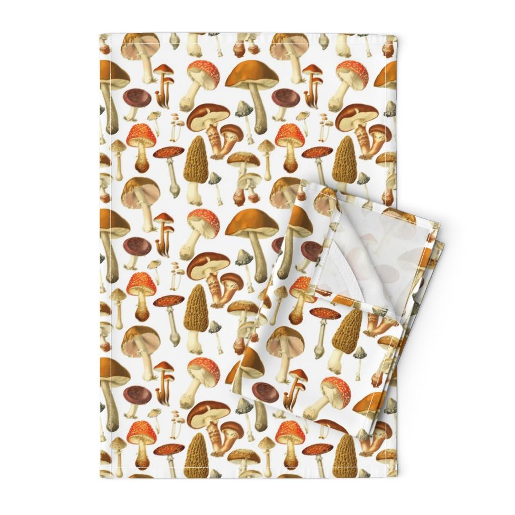 Orpington Tea Towels featuring vintage botanical fungus  by redbriarstudio