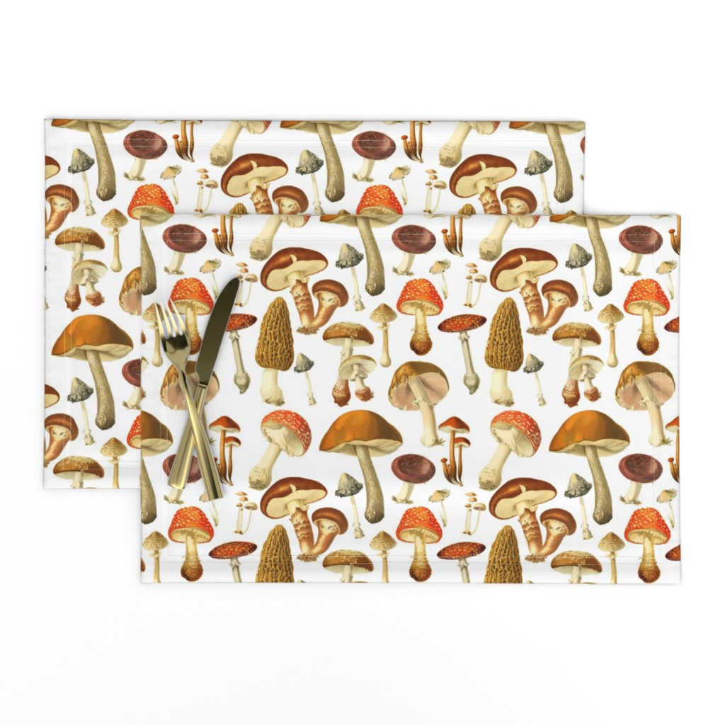 Lamona Cloth Placemats featuring vintage botanical fungus  by redbriarstudio