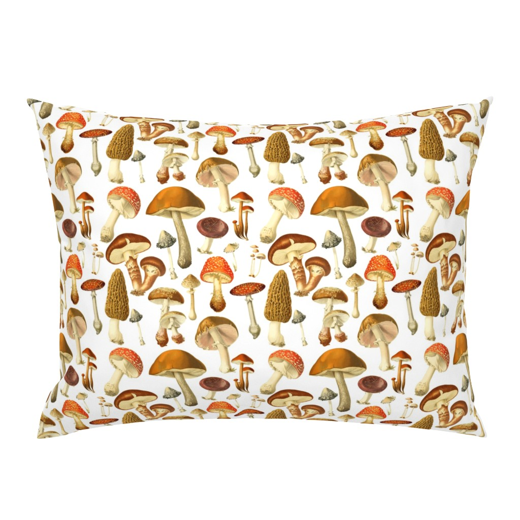 Campine Pillow Sham featuring vintage botanical fungus  by redbriarstudio