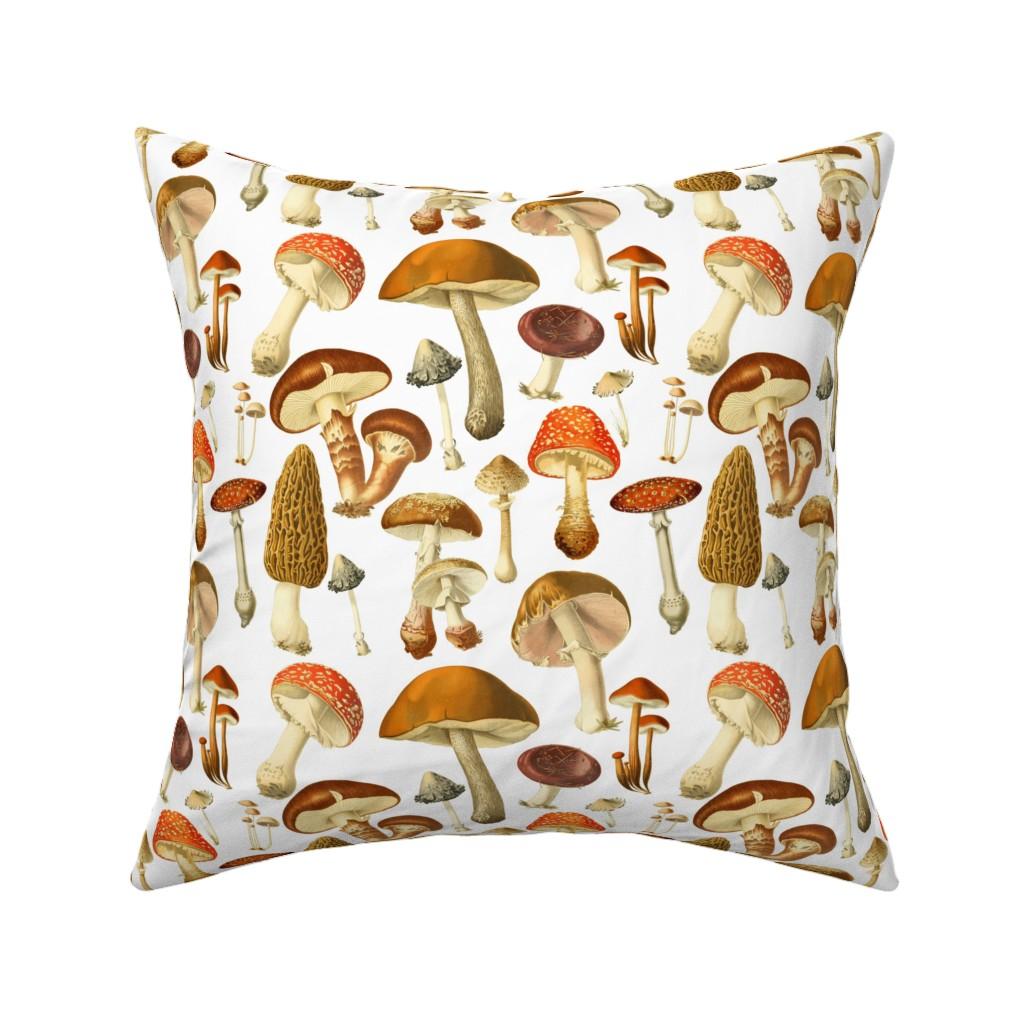 Catalan Throw Pillow featuring vintage botanical fungus  by redbriarstudio