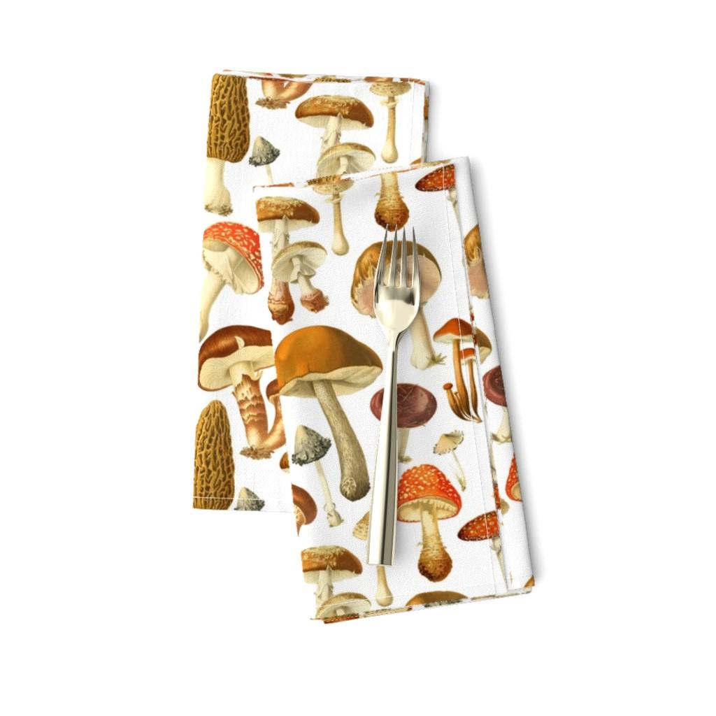 Amarela Dinner Napkins featuring vintage botanical fungus  by redbriarstudio