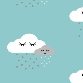Sleepy Clouds - Aqua Blue White and Gray