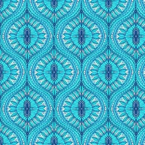 Marrakesh teal Ogee Aqua tropical watercolor leaves