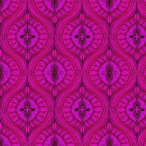 Marrakesh Bohemian Watercolor Tropical hot pink Ogee leaves