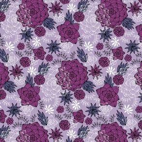 Graphic succulents purple