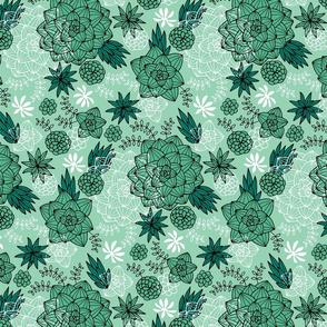 Graphic succulents mint