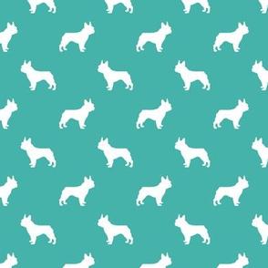 french bulldog fabric dog silhouette fabric - turquoise