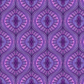 Marrakesh Ultraviolet Purple Bohemian Watercolor Ogee Leaves of purple