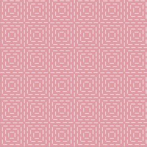 faux sashiko squares on hyacinth pink